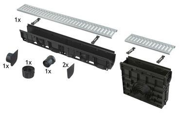 AlcaPlast AVZ102-R102 Entwässerungsrinne Set mit Revisionskasten 1 bis 10 lfm mit Rost (1,5to) – Bild 8