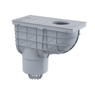 AlcaPlast AGV2S Regensinkkasten | Dachrinnenablauf DN125 grau mit Einlauf ø80-125mm
