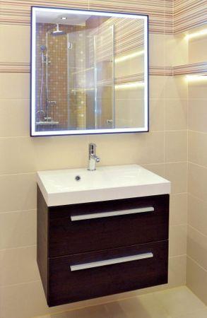Badezimmer Backlight LED Spiegel 65x65 cm mit Holz-Rahmen | Leuchtspiegel 21 Watt – Bild 1