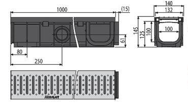 Entwässerungsrinnen Komplett-Set 1 bis 20 lfm mit Rost (1,5to) – Bild 3