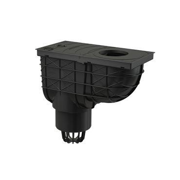Regensinkkasten Dachrinnenablauf DN100 schwarz mit Anschluß ø80-125mm – Bild 2