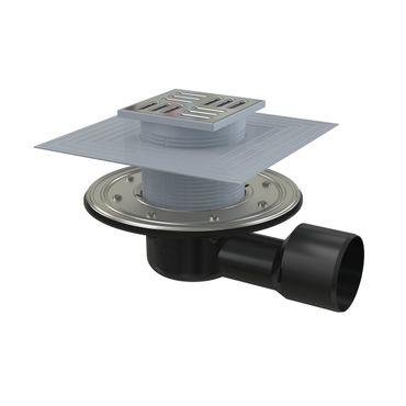 Bodenablauf Duschablauf Terrassenablauf Edelstahlrost 105x105mm Siphon/Klappe 2. Andichtflansch – Bild 2