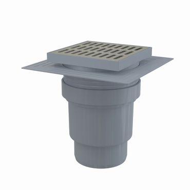 Bodenablauf Duschablauf mit Siphon DN110 Edelstahlrost 150x150mm – Bild 4