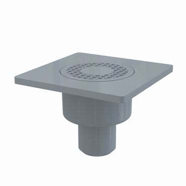 Bodenablauf Duschablauf DN50 150x150mm mit Siphon Kunststoffrost ø93mm grau – Bild 4