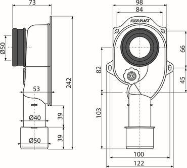 Urinal Pissoir Siphon DN50 x DN40/50 | Absaugsiphon – Bild 6