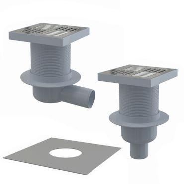 Bodenablauf Duschablauf DN50 Edelstahlrost 150x150mm mit Kombisiphon Abdichtflies