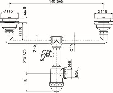 """Doppelspülbecken Siphon 2x Ablauf ø115mm mit Stopfen 1,5"""" ø40/50mm – Bild 3"""