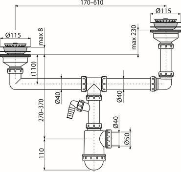 """Doppelspülbecken Siphon 2x Ablauf ø115mm mit Stopfen 1,5"""" ø40/50mm – Bild 5"""