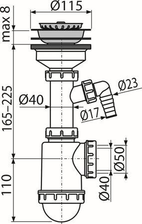 """Spülbecken Ablaufgarnitur 1,5"""" mit Ablaufventil ø90-105mm mit Siphon ø40/50mm – Bild 5"""