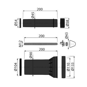AlcaPlast M900 Wand-WC Anschlussgarnitur DN 90/110 | komplettes Set – Bild 2