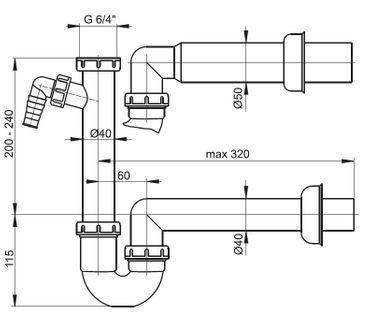 """Spülbecken Ablaufgarnitur 1,5"""" mit Röhrensiphon ø40/50mm – Bild 5"""