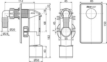 AlcaPlast APS4 Gerätesiphon Unterputz DN 40 50mm Abwasseranschluss für Waschmaschine, Spülmaschine etc. – Bild 2