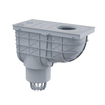 Regensinkkasten Dachrinnenablauf DN100 grau mit Anschluß ø80-125mm – Bild 2