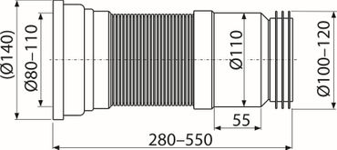 AlcaPlast A970 WC Flex-Anschlußstutzen für Rosette Universal | 280-550mm weiß ø80-110/ø100-120mm – Bild 2