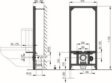 Montageelement für WC mit Aufputzspülkasten – Bild 3