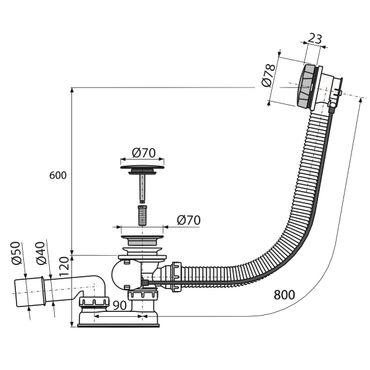AlcaPlast A55KM Badewannen Ab- & Überlaufgarnitur mit Bowdenzug für Sonderwanne | Verschluss ø70mm – Bild 2