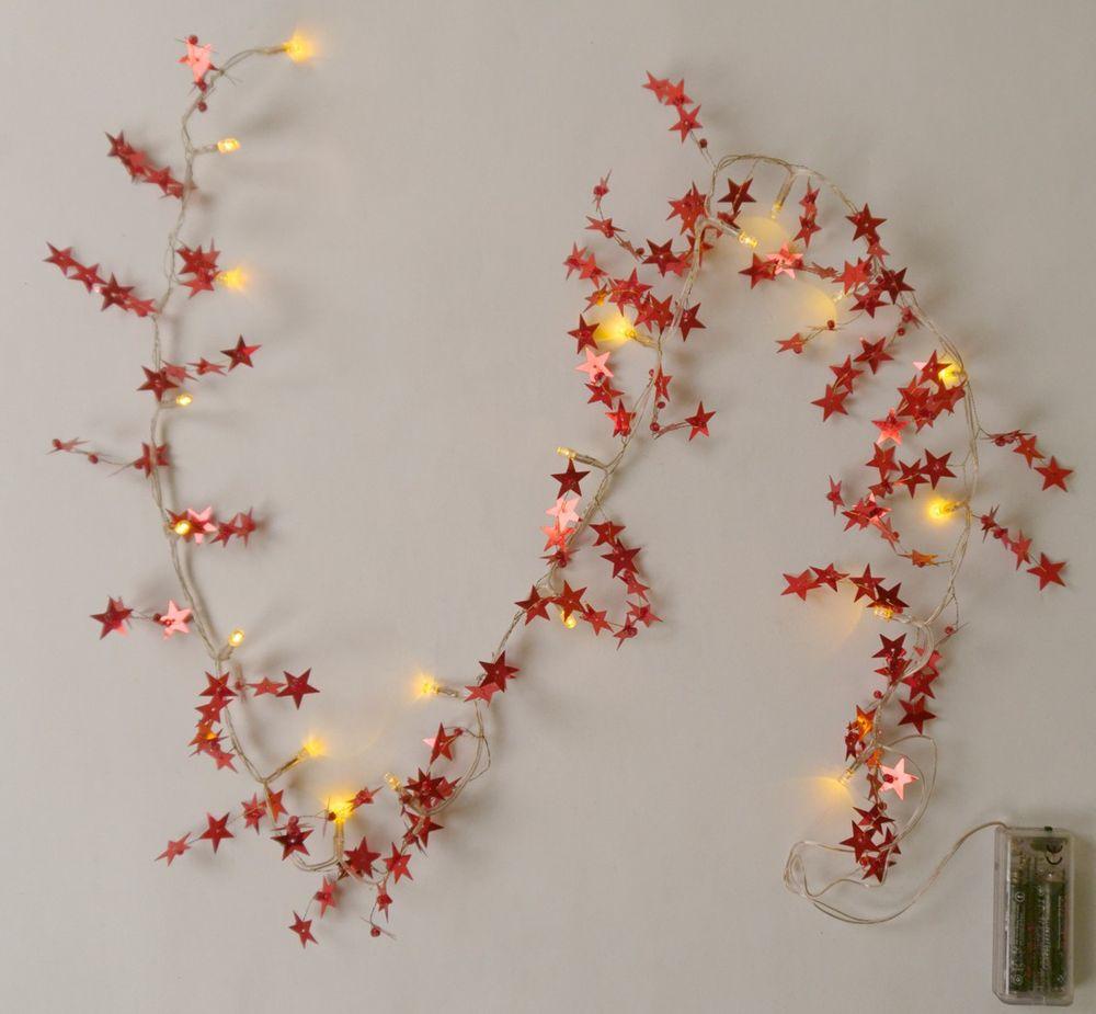 LED Lichterkette Dekolicht Girlande Stern Schneeflocke weiß rot silber gold neu – Bild 1