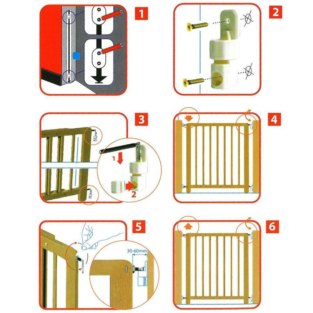 Kinder-Sicherheitsgitter Treppengitter Türschutzgitter Absperrgitter Holz natur – Bild 2