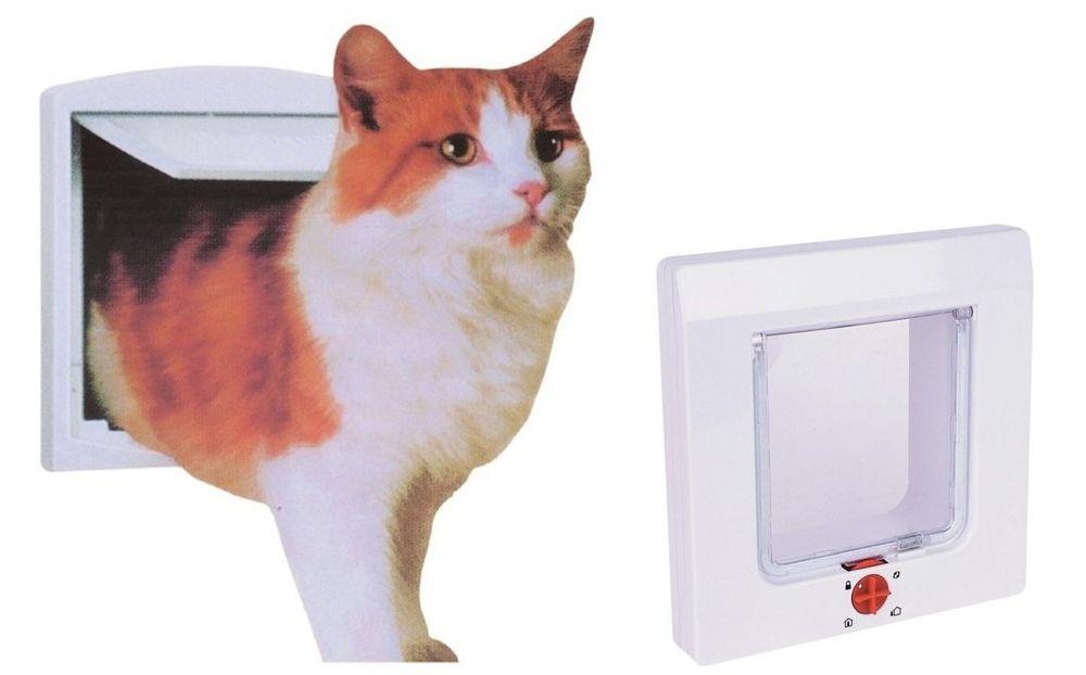 4-Wege Katzenklappe Katzentür Katze Katzen Klappe Sicherheitssperre Magnet neu – Bild 1