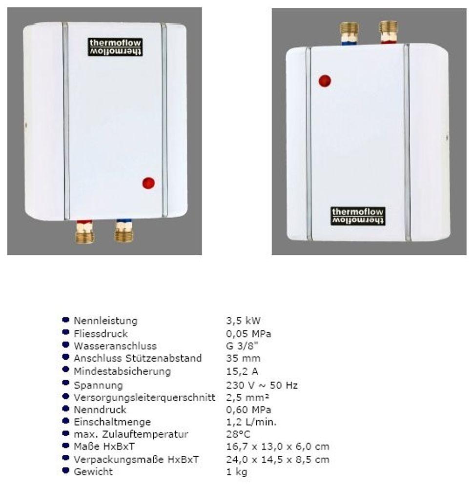 Klein Durchlauferhitzer Thermoflow ELEX 3,5 – Bild 1