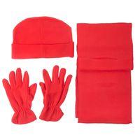 Winter-Set 4 teilig aus Fleece Mütze Schal Handschuhe Wintermütze Universalgröße 001