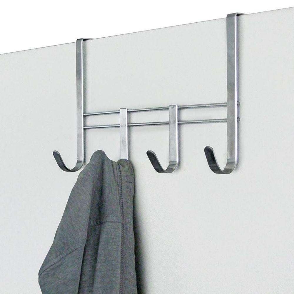 Metall Türgarderobe mit 4 Haken Garderobenleiste Kleiderhaken Türhaken Garderobe – Bild 1