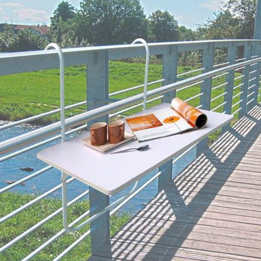 Balkonklapptisch Balkontisch Tisch Balkon Brüstung weiß Klapptisch Camping Zaun