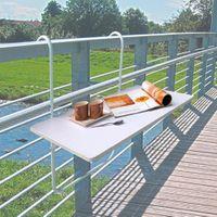 Balkonklapptisch Balkontisch Tisch Balkon Brüstung weiß Klapptisch Camping Zaun  001
