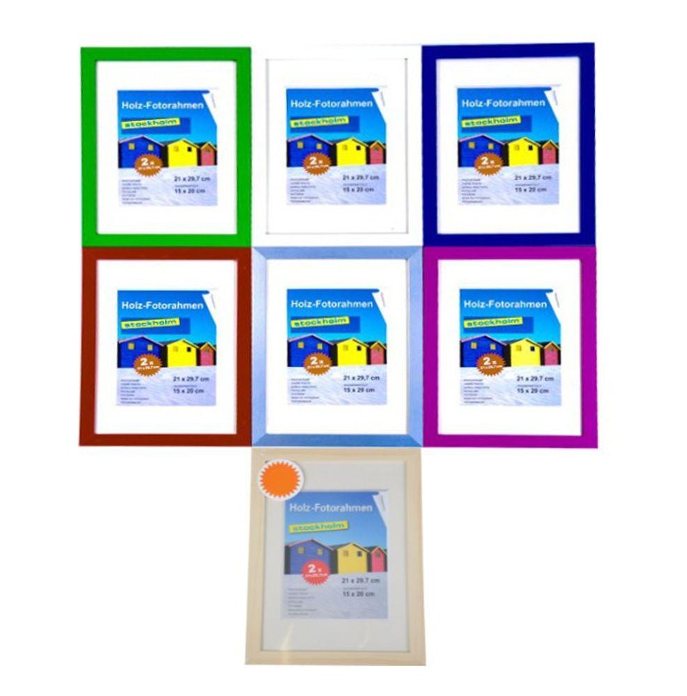 Holz-Fotorahmen 21x29,7cm 2er Pack versch.Farben – Bild 1