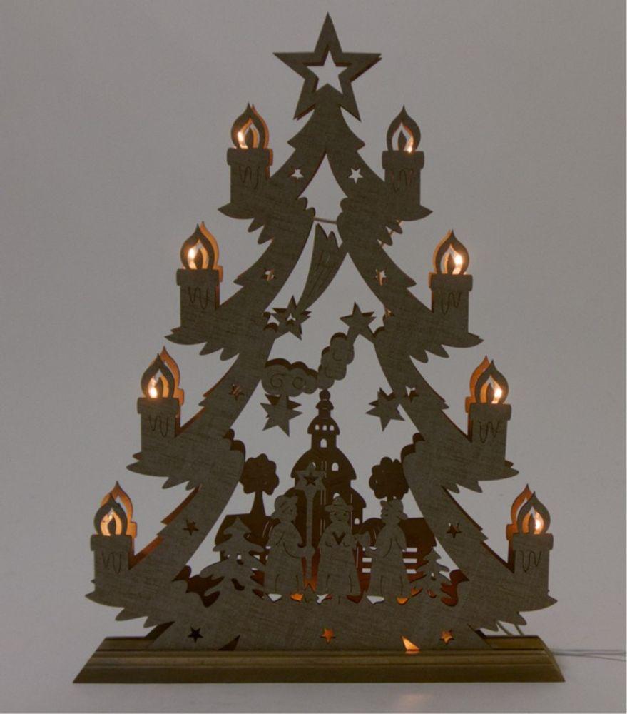 Holzdeko Tanne Schwibbogen Weihnachtsdeko Fensterdeko Leuchtdeko Lichterbogen – Bild 5