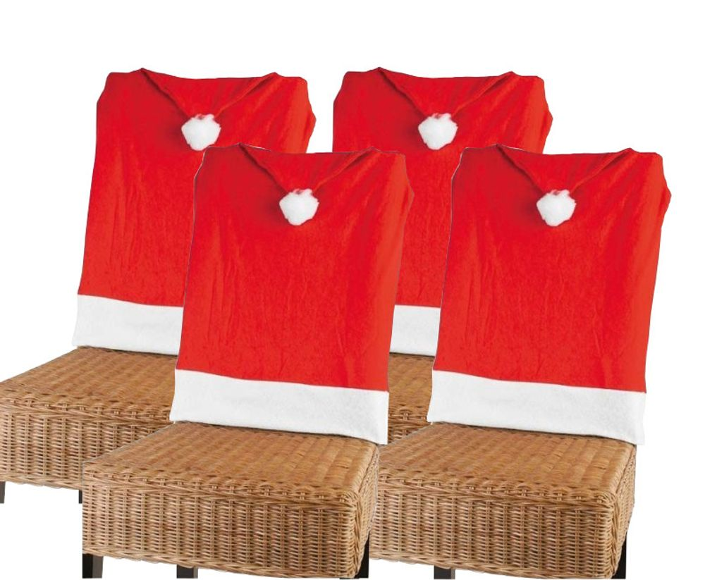 4er-Set Stuhlhusse Nikolausmütze Weihnachtsmütze Stuhlüberwurf Stuhlbezug Deko – Bild 1