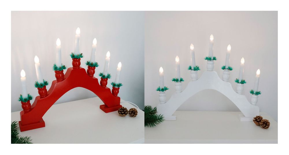 LED Holz-Lichterbogen Schwibbogen Schwedenleuchter Weihnachtsdeko Kerzenleuchter – Bild 1