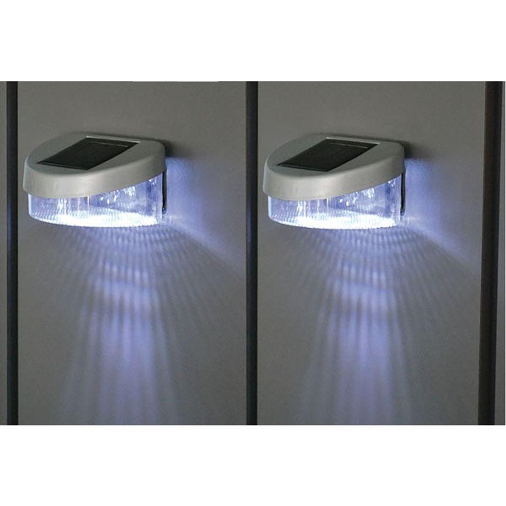 Zaun Solarlichter 2er Set Gartenlicht Gartenzaun Gartenlampe Licht Leuchte Neu  – Bild 1