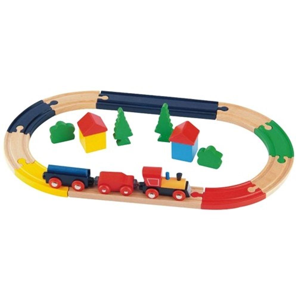 Holz-Eisenbahn Holzeisenbahn Spielzeugeisenbahn Holzbausteine Lokomotive Zug