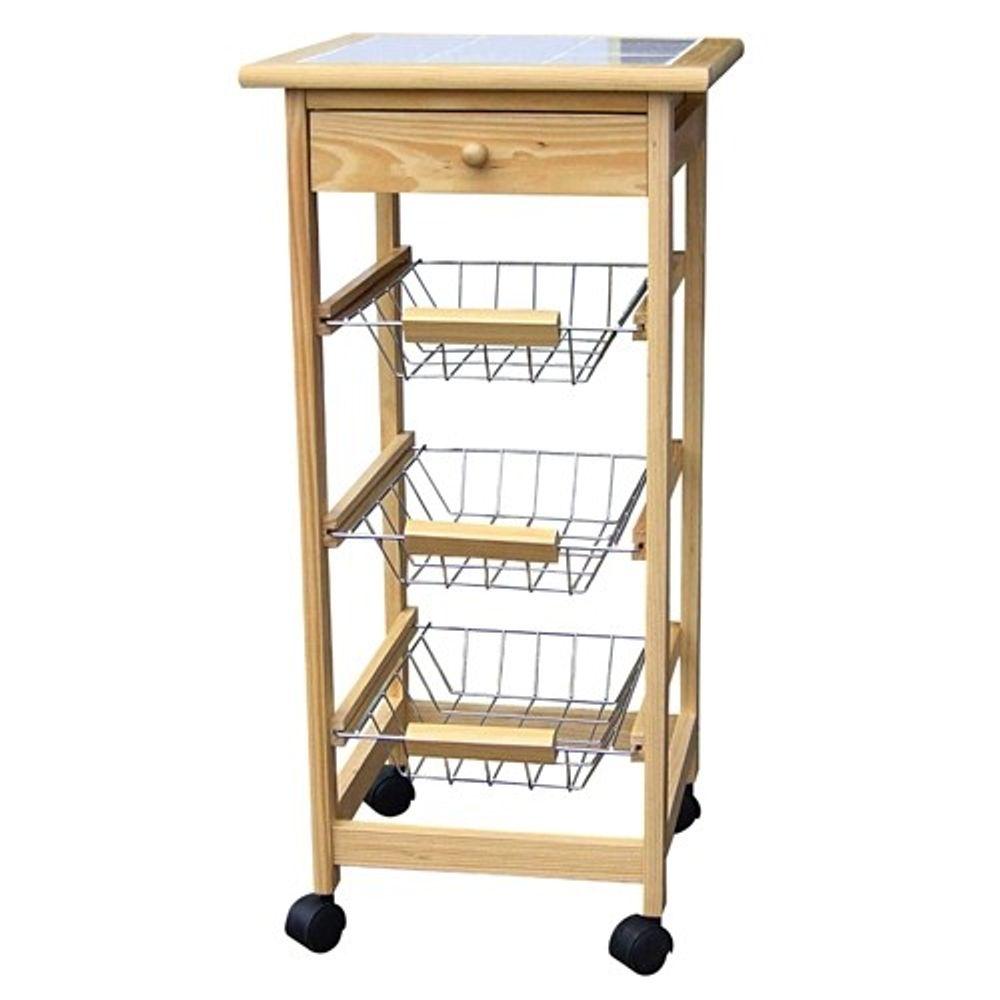 Holz Küchenwagen mit 3 Körben – Bild 1