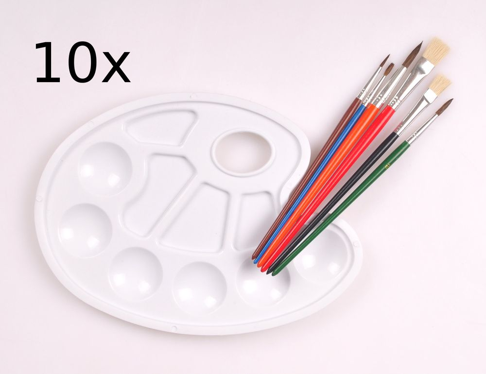 10x Pinselset mit Farbmischpalette Rundpinsel Flachpinsel Mischpalette Pinsel