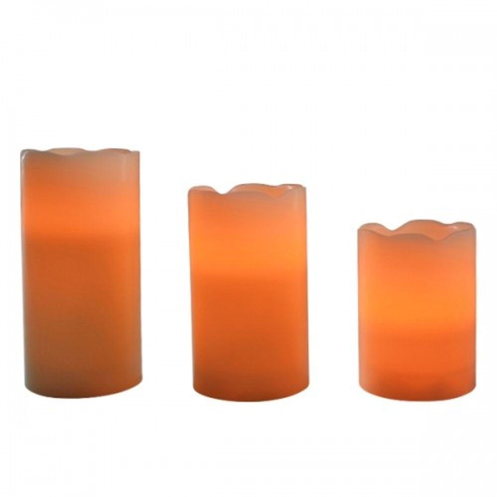 3er Set LED Wachskerzen Flackerlicht + Ferbedienung – Bild 2