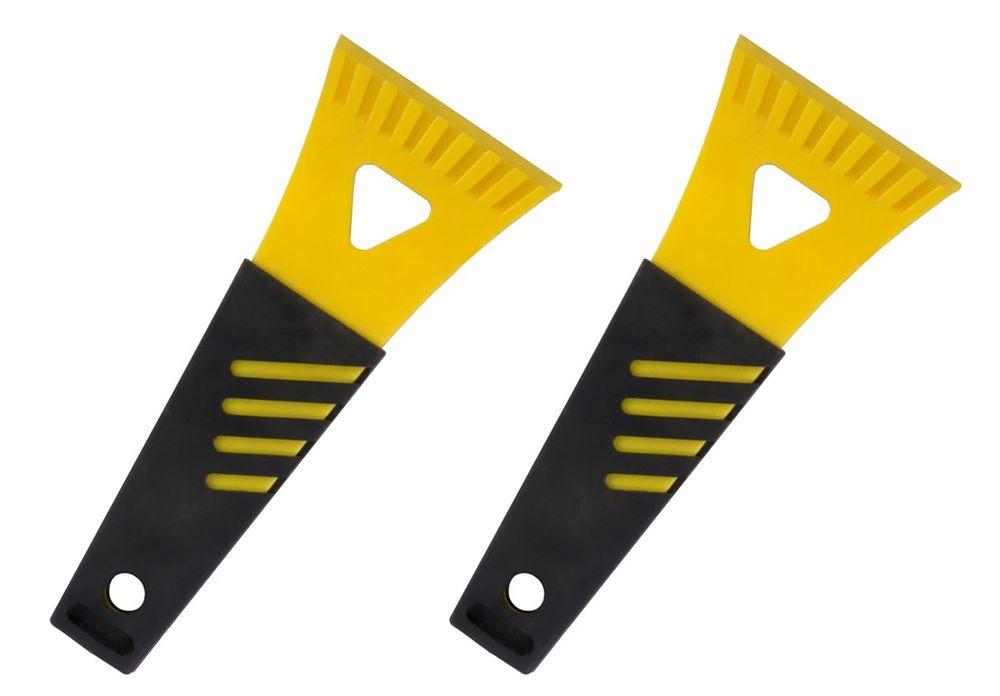2x Eisschaber mit Softgriff gelb – Bild 1