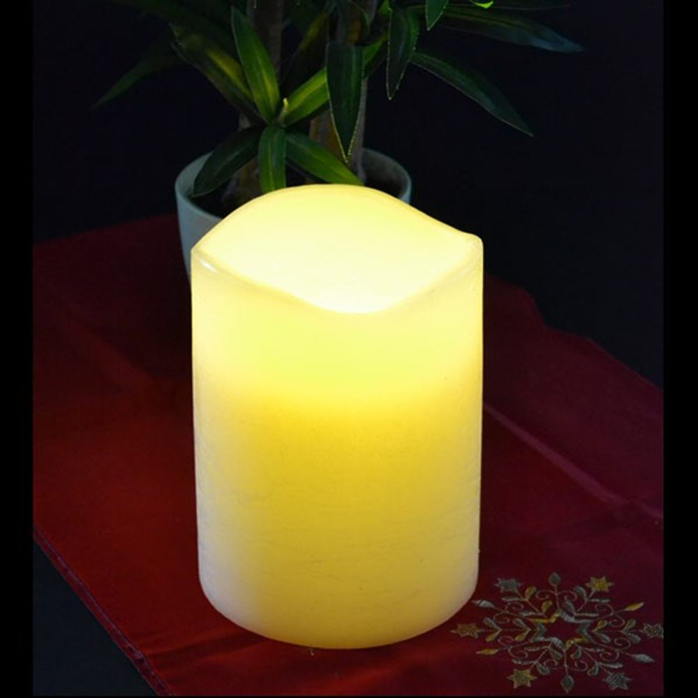 LED Wachskerze elfenbein 15x20cm flackernd Stumpenkerze Pustefunktion Tischdeko