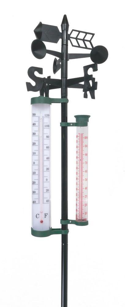 Garten Wetterstation 145cm Regenmesser Windmesser Thermometer Wettermessung  – Bild 1