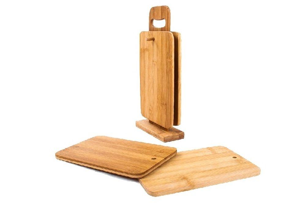 4er-Set Bambus-Frühstücksbretter + Ständer Schneidbrett Küchenbrett Holzbrett  – Bild 2