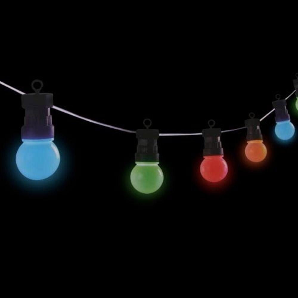 LED Biergarten-Lichterkette Partylichterkette Partybeleuchtung Garten bunt 4,5m – Bild 2