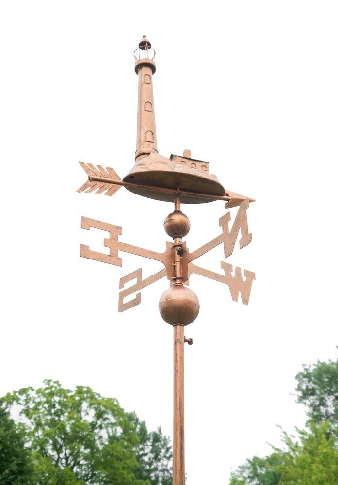 Wetterfahne Leuchtturm Kupferfarben Windrad Windfahne Beetstecker Gartendeko – Bild 2