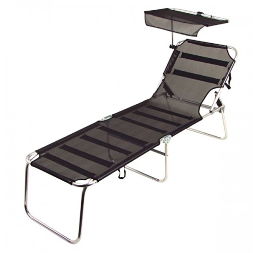 Alu-Liege schwarz mit Sonnenschutz Sonnenliege Gartenliege Terrassenliege Liege