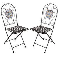 Mosaikstühle 2er-Set Venedig Gartenstühle Metallstühle Mosaikstuhl Stühle Neu 001