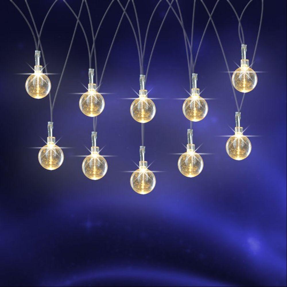 LED Lichterkette mit Glitzerkugeln Weihnachtsbeleuchtung warmweiß Weihnachten  – Bild 2