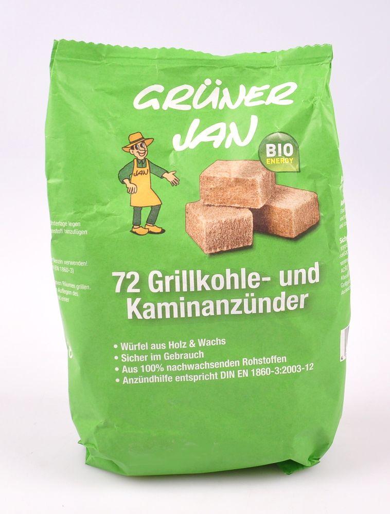 Grüner Jan Bio Kaminanzünder 72er-Pack Anzündwürfel Kohleanzünder Grillanzünder