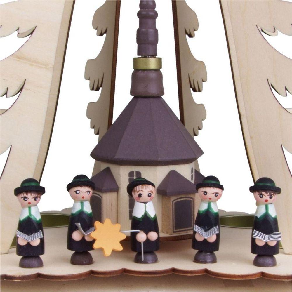 Weihnachtspyramide Pyramide 30cm Weihnachten Holz Holzpyramide Advent Teelichter – Bild 3