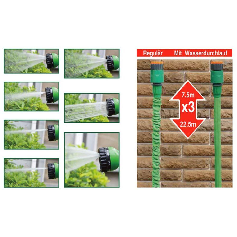 Flexischlauch 22,5m Gartenbrause Gartenschlauch Wasserschlauch dehnbar Schlauch – Bild 2
