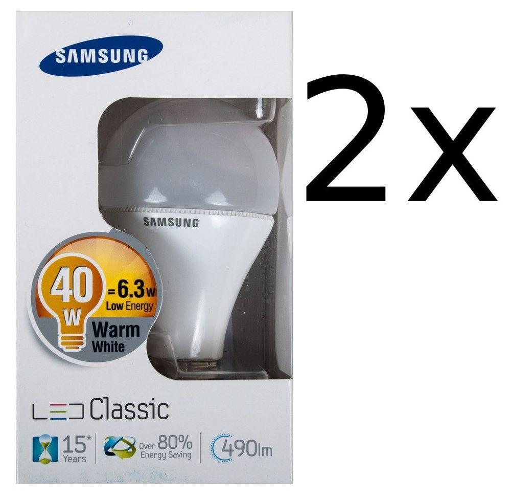 2x Samsung Led 6,3W Energiesparlampe E27 Leuchtmittel 490lm Glühbirne Glühlampe